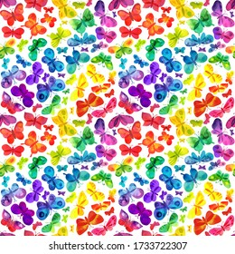 Bright colorful rainbow butterflies pattern. Different shape, size, type and color watercolor butterflies and moths background for textile, wrapping paper, lycra design.