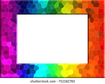 Bright colorful rainbow color photo frame