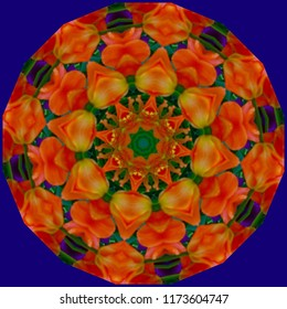 Bright, colorful, red, green, orange, blue mandala with geometric floral pattern on blue background. Decorative element, ethnic design, web design, anti-stress therapy, meditation.