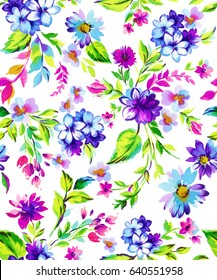 bright and colorful seamless ditsy floral pattern. Trendy vintage style, feminine colors, ideal for apparel, wrapping paper, stationery, swimwear. Daisy, forget-me-not, and other small flowers.
