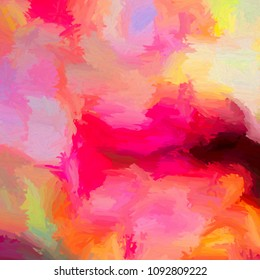 Bright and colorful square abstract background in pinks, reds, lilacs and yellows.