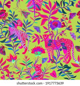 Bright colorful tropical seamless pattern with exotic animals. Leopard and tiger with abstract fantasy flowers and plants. Nature jungle pattern. Vintage classic style.