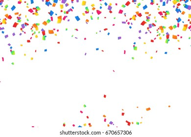 Bright colorful vector confetti frame isloated on white background
