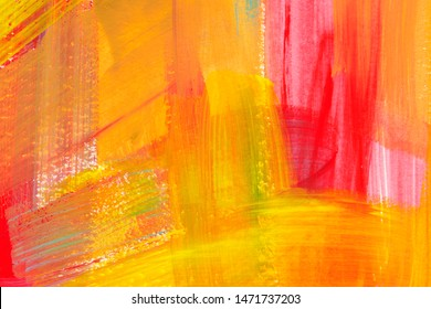 Bright colorful watercolor background. Hand drawn pink, orange and yellow brush strokes. Chaotic decorative expressionist artwork. Multicolor grunge backdrop. Hand drawn paintbrush swabs illustration