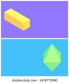 Bright colors cuboid and octahedron templates raster illustration with green yellow geometric objects crystal square prism