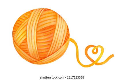 Bright and colourful wool yarn ball with playful heart-shaped end of thread. One single object. Handdrawn water colour graphic drawing on white background, cutout clip art element for creative design.
