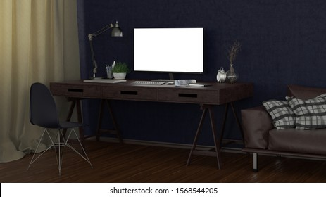 Bright computer monitor at night in the studio or at home workplace. Clipping path around display. 3d illustration