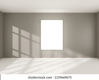 Bright concrete room with empty poster. Gallery, exhibition, advertising concept. Mock up, 3D illustration