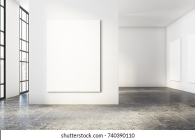 Bright concrete room interior with empty poster and city view. Gallery, exhibition, advertising concept. Mock up, 3D Rendering