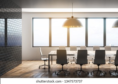 Bright conference room interior with city view and daylight. Workplace design concept. 3D Rendering