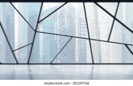 A bright contemporary panoramic empty office space with Singapore view. The concept of highly professional financial or legal services. 3D rendering.
