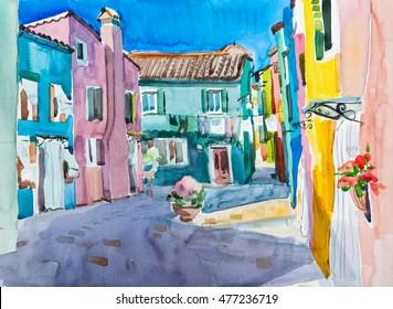 Bright courtyard. Burano, Italy. Watercolor art