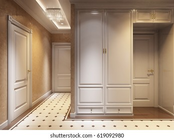 Bright and Cozy Classic Modern Hall Interior Design Beige walls, Brown White Marble Tiles Floor, White Doors and Cabinets Wardrobe. 3d render.