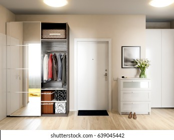 Bright and cozy hall interior design in modern urban contemporary style with beige walls, white doors and large mirror wardrobe. 3d render