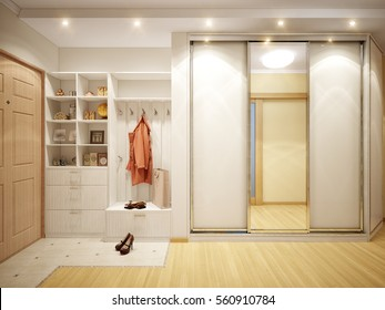 Bright and cozy hall in the modern style with white and beige walls, wooden doors and large wardrobe. 3d render
