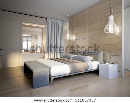 Bright Cozy Modern Bedroom Dressing Room Stock Illustration