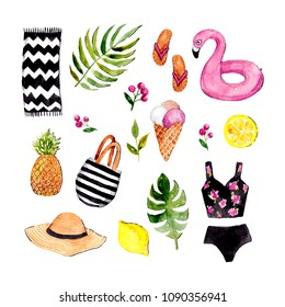 Bright and cute watercolor set. Summertime theme. Watercolor illustration