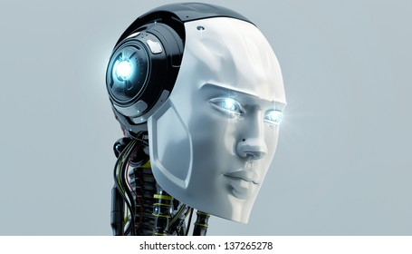 Bright cyber man with opened neck system/ Lighting robot