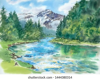 Bright day, blue sky, clouds, mountains, rocks, snow, ice, greeen hills, woods, river, watercolor landscape illustration