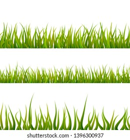 Bright detailed green grass, lush seamless borders isolated on white