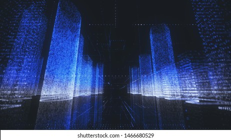 bright digital city wireframe in bright blue and white colors consist of particles linked in lines and massives into abstract skyscrapers around camera motion. Digital technology and communication