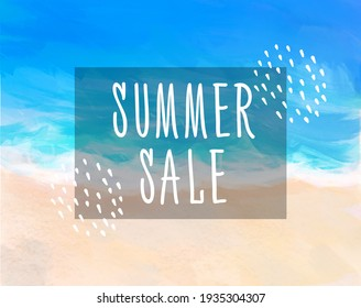 Bright digital illustration of the beach with the inscription summer sale.