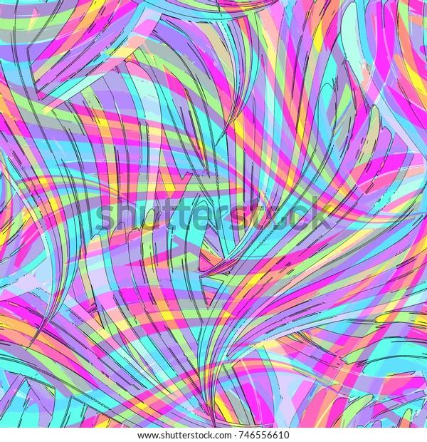 Bright Digital Psychedelic Overlay Swirl Print Stock Illustration