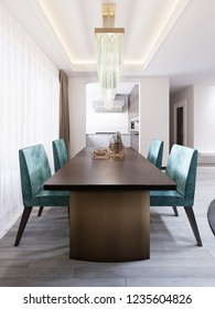 Bright dining room in contemporary style, with designer dining table and chairs. 3d rendering.