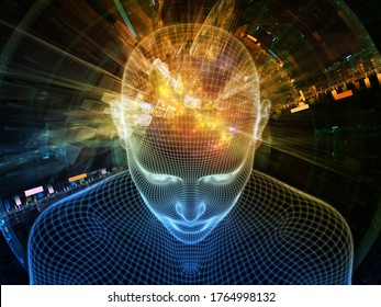 Bright Dreams .  Lucid Mind series. Background design of 3D rendering of glowing wire mesh human face on the subject of artificial intelligence, human consciousness and spiritual AI