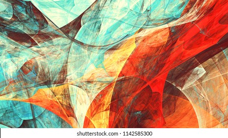 Bright dynamic background. Abstract painting texture in summer color. Modern artistic futuristic shiny pattern. Fractal artwork for creative graphic design