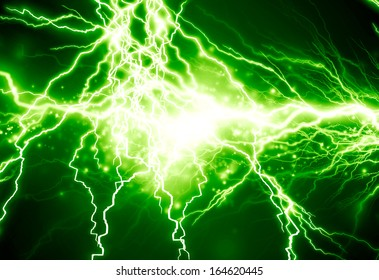 bright electrical spark on a dark green background