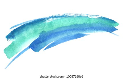 Bright emerald green and turquoise blue stripe painted in watercolor on clean white background
