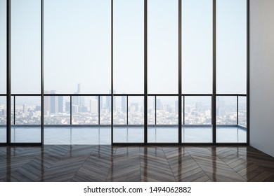 Bright empty interior with panoramic city view and daylight. 3D Rendering