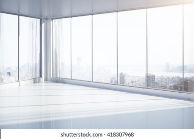 Bright, empty interior with panoramic windows and New York city view. 3D Rendering