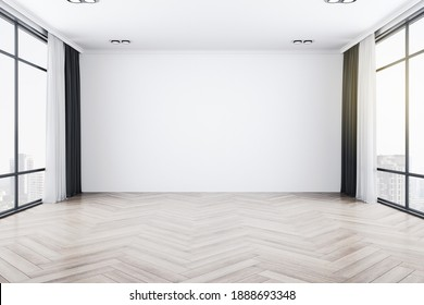 Bright empty interior with two large window, city view and blank gray wall. 3D Rendering