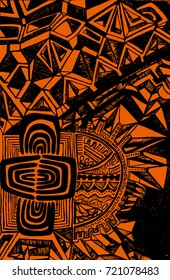 Bright, ethnic pattern, black outline on an orange background, abstract psychedelic background, Boho style. Colorful ornamental card.Raster  illustration.