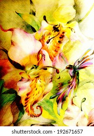 Bright exotic tropical orchids and small colorful birds - hummingbirds, which collects nectar petals. Graphics - colored pencils on paper.