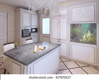 Bright expensive kitchen design. Kitchen island bar with granite countertop. Crystal lamp and aquarium in a modern interior. 3D render