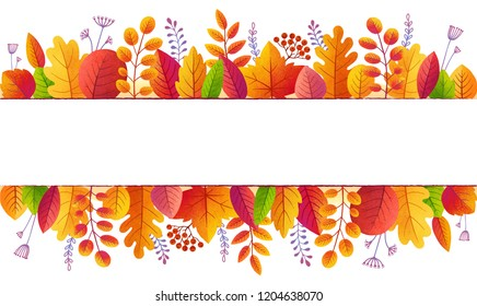 Bright fall colors autumn leaves lines banner background isolated on white