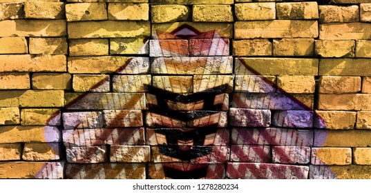 Bright fantastic shapes. Virtual graffiti. Abstract image, drawn on a photo of a brick wall. Digital graphics by Igor Mishenev (artist-abstractionist).