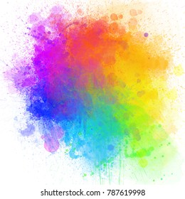Bright festive color watercolor stains, color circle (red, orange, yellow, green, blue, purple) on an isolated white background, with space for text, illustration.