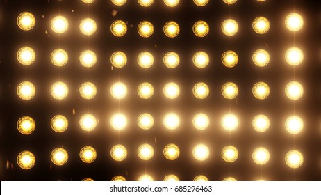 Bright flood lights background with particles and glow. Gold tint. More color options available in my portfolio.