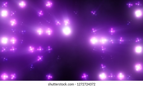 Bright Floodlight Flash on the wall VJ Stage 3d illustration. Blinder Blinking lights Flash club Flashlights Disco lights Matrix Incandescent light Lamp Halogen headlamp lamp Night club off