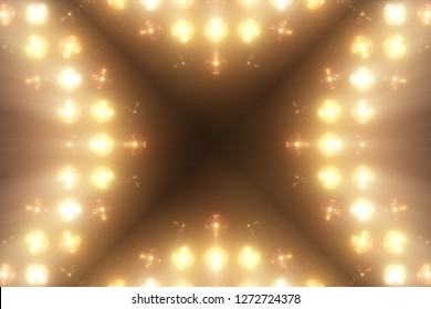 Bright Floodlight Flash on the wall VJ Stage 3d illustration. Blinder Blinking lights Flash club Flashlights Disco lights Matrix Incandescent light Lamp Halogen headlamp lamp Night club off