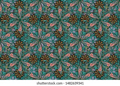 Bright floral collage blossom flowers gray, green and black. Amazing collage paradise style for floral design. Blossom lilies seamless background.