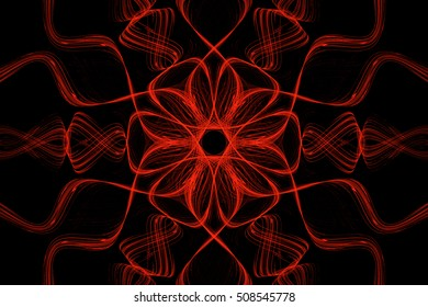 Bright floral wavy red background on a black
