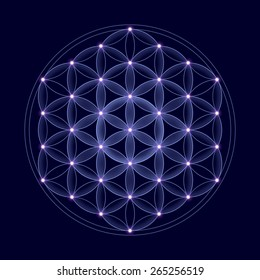 Bright Flower of Life with stars on dark blue background, a spiritual symbol and Sacred Geometry since ancient times.