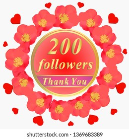 Bright followers background. 200 followers illustration with thank you on a ribbon. Illustration.