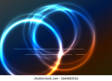 Bright full color rainbow plasma ring on dark background. Several circles intersect. Blue and red color. Bright line segments intersect circles in bright places.
