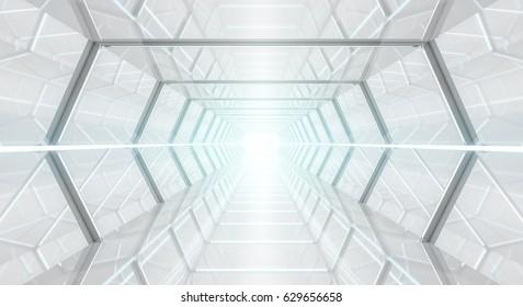 Bright futuristic spaceship corridor with modern lights 3D rendering